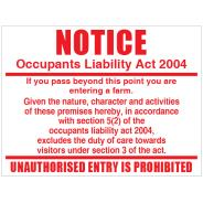 Occupants Liability Sign