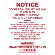 Notice - Occupiers Liability Signs
