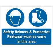 Safety Helmets & Footwear Must Be Worn Signs