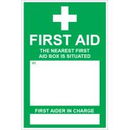 The Nearest First Aid Box is Situated Signs