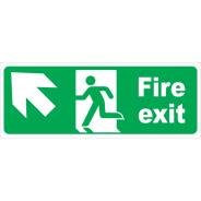Fire Exit Arrow Diagonal Left & Up Signs