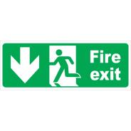 Fire Exit Running Man Down Arrow Signs