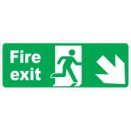 Fire Exit Arrow Diagonal Right & Down Signs