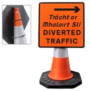 Diverted Traffic Right Cone Sign