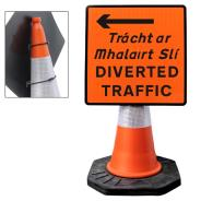 Diverted Traffic Left Cone Sign