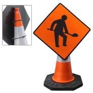Roadworks Ahead Cone Sign
