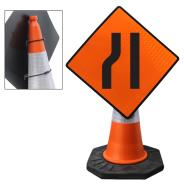 Narrow Road Left Cone Sign