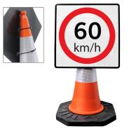 """Cone Mountable """"60KM Speed Limit"""" Square Sign"""