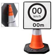 Cone Mountable Custom KM Speed Limit Square Sign