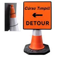 "Cone Mountable ""Detour Left"" Square Sign"