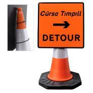 "Cone Mountable ""Detour Right"" Square Sign"