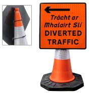 """Cone Mountable """"Diverted Traffic Left"""" Square Sign"""