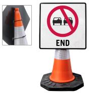 """Cone Mountable """"No Overtaking End"""" Square Sign"""