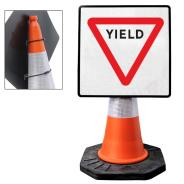 """Cone Mountable """"Yield"""" Square Sign"""